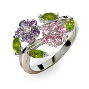 Purple and Pink CZ Flowers Ring