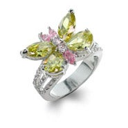 Peridot & Pink Butterfly Ring