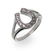 Designer Style Sterling Silver Lucky Horseshoe Ring