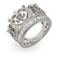 Fleur de Lis Crown Tiara Pave CZ Ring