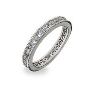 Sterling Silver Channel Set Round Stone CZ Stackable Band