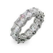 Royalty Inspired Baguette CZ Stackable Silver Band