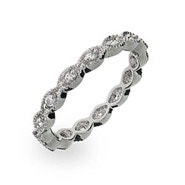 Victorian Sterling Silver Stackable CZ Band