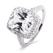 Celebrity Inspired Diamond Cubic Zirconia Sterling Silver Engagement Ring