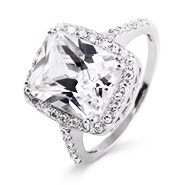 Celebrity Inspired Diamond CZ Sterling Silver Engagement Ring