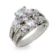 Designer Inspired Past Present and Future Wedding CZ Ring Set