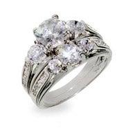 Designer Inspired Past Present and Future Wedding CZ Ring Set