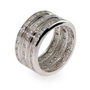Designer Inspired Triple Row CZ Wide Silver Ring