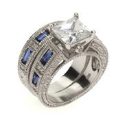 Sapphire and Diamond CZ Silver Ring Set