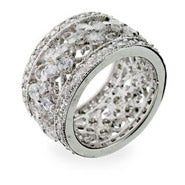 Vintage Style Flower CZ Sterling Silver Ring