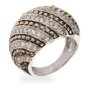 Designer Inspired Sterling Silver CZ Rope Style Cocktail Ring