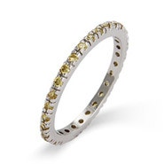 Citrine CZ Sterling Silver Stackable Eternity Band
