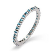 Blue Zircon CZ Silver Eternity Band