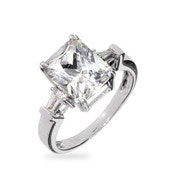 Celebrity Inspired Emerald Cut CZ Engagement Ring