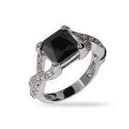 Princess Cut Onyx CZ Intricate Style Ring