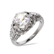 Brilliant Cut CZ Sterling Silver Engagement Ring