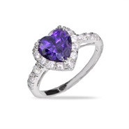 Purple Heart Sterling Silver Amethyst CZ Ring