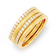 Stackable 4 Ring Set with Gold and CZ Bands