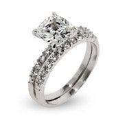 Celebrity Style Cushion Cut CZ Wedding Ring Set