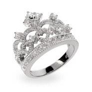 Dazzling Crown Tiara Sterling Silver & CZ Ring