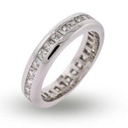 Princess Cut Channel Set CZ Eternity Band