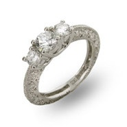 Three Stone Vintage Style CZ Engagement Ring