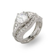 2 Carat Vintage Style Engagement Set