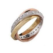 Triple Tone CZ Russian Wedding Ring