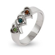 Silver 3 Birthstone Triple Heart Mother's Ring