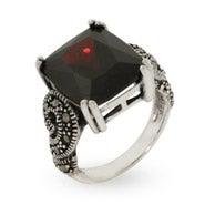 Emerald Cut Garnet CZ Silver Marcasite Ring