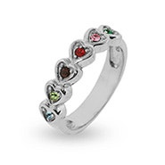 6 Stone Band of Hearts Family Ring