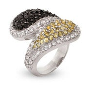 Pave Two Toned Black and Gold CZ Sterling Silver Spoon Ring