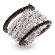 Designer Style Black and White CZ Highway Ring