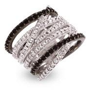 Designer Style Black and White CZ Highway Ring