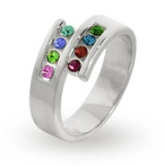 Personalized 8 Stone Silver Split Mother's Ring