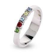 Custom 5 Stone Thin Band Mother's Ring