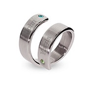 Engravable Stainless Steel Couple's Birthstone Ring