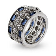 Designer Style Three Band Sapphire CZ Stackable Ring Set