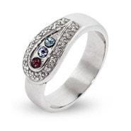 3 Stone Custom Birthstone Austrian Crystal Spoon Ring