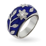 belle cubic etoile enamel medium ring silver blossom rings cherry zirconia jewellery