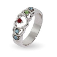 5 Stone Sterling Silver Birthstone Heart Mother's Ring