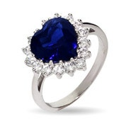Movie Inspired Heart of the Ocean Sapphire CZ Ring
