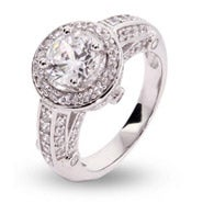 CZ Encrusted Halo Vintage Style Round Ring