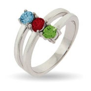 Custom 3 Stone Vertical Silver Mother's Birthstone Ring