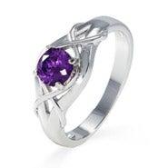 Sterling Silver Woven Design Custom Birthstone Ring