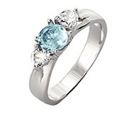 3 Stone Sterling Silver Birthstone Ring