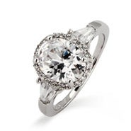Sterling Silver Oval Halo Heirloom CZ Ring