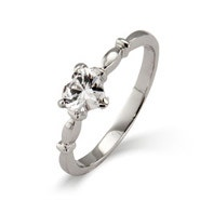 Sterling Silver Simple CZ Heart Promise Ring