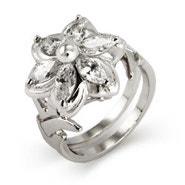 Fantasy World Elven CZ Flower Ring