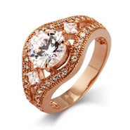 Dazzling Brilliant Cut CZ Vintage Rose Gold Ring